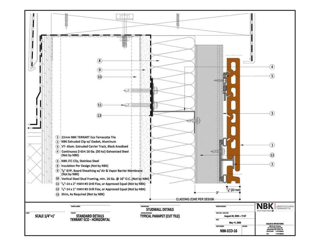 NBK-ECO-16_Horizonal - Typical Parapet (Cut Tile)
