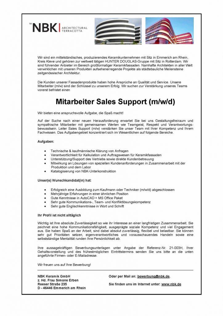 NBK Keramik Mitarbeiter Sales Support